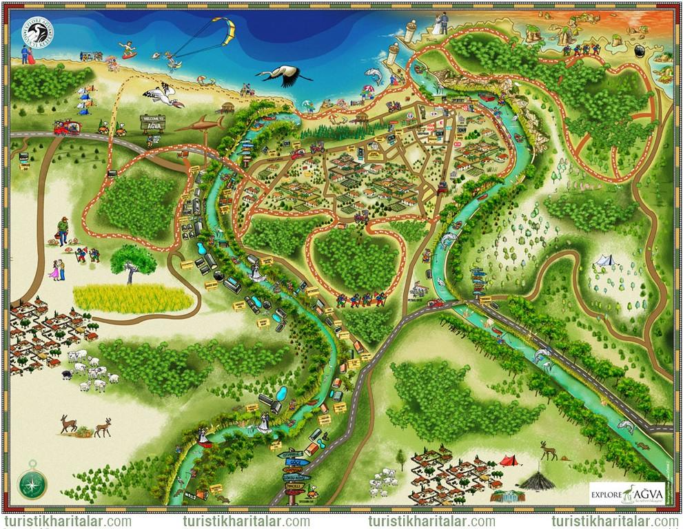 Ağva Turistik Gezi İllüstrasyon Harita / illüstrasyon : Adem Dönmez