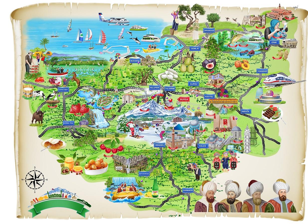 Bursa Karikatür Haritası  illüstrasyon: Adem Dönmez