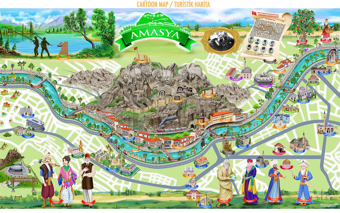 Amasya Turistik İllüstrasyon Harita  / illüstrasyon : Adem Dönmez