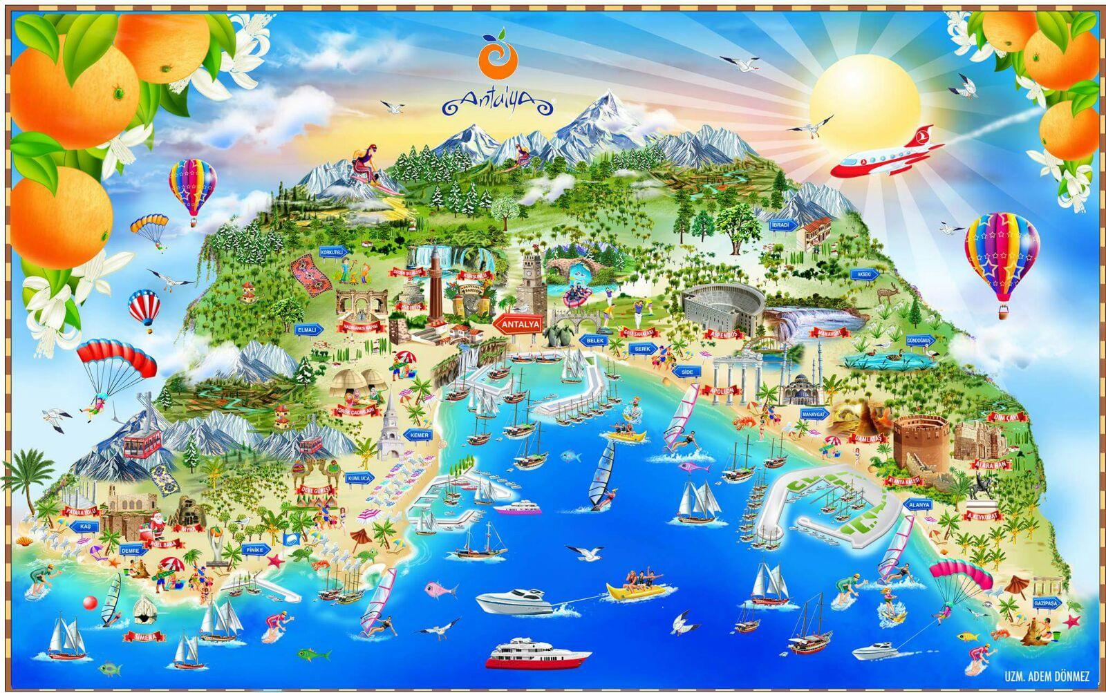Antalya turistik illustrasyon haritası / touristic cartoon map of Antalya  illüstrasyon : Adem Dönmez