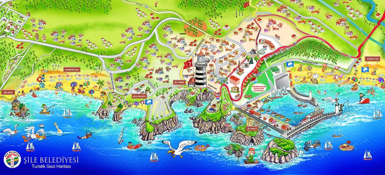 Şile karikatür haritası  illüstrasyon: Adem Dönmez