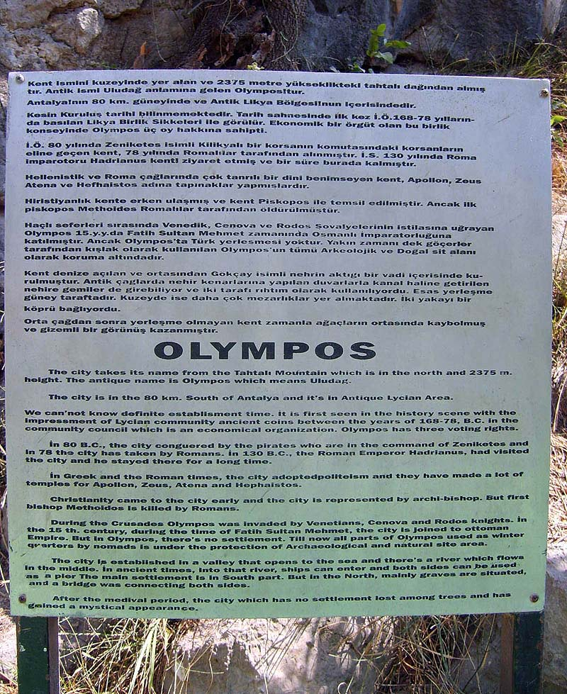description of the antique Olympos in english / türkçe